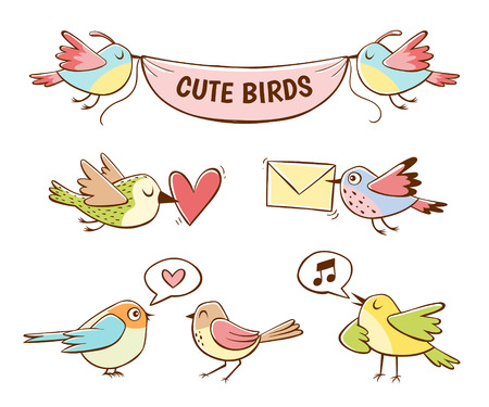Colorful cute bird icons, isolated on white background. Hand drawn vector illustration. Ilustração