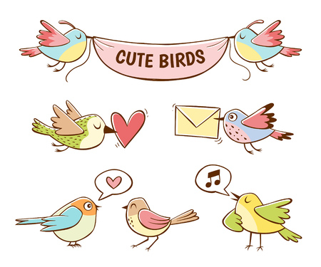 Colorful cute bird icons, isolated on white background. Hand drawn vector illustration. Ilustrace