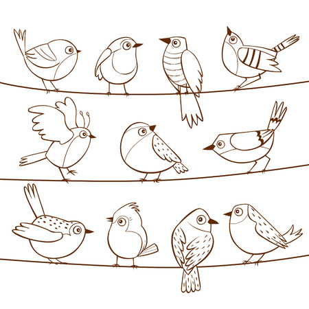 Collection of cute little birds laid on a string. Hand drawn little birds. Vector illustration.