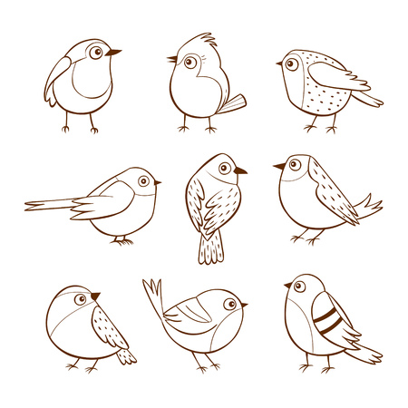 Hand drawn cute little birds in different poses, isolated on white background. Vector illustration. Ilustração
