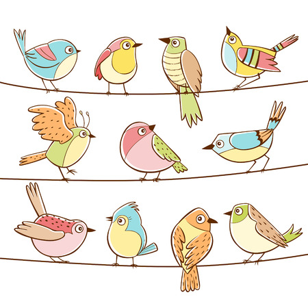 Collection of different cute little birds laid on a string. Colorful hand drawn little birds. Vector illustration.