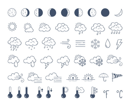Weather icons pack. Hand drawn weather forecast design elements, isolated on white background. Contains icons of the sun, clouds, snowflakes, wind, rain, moon phases and more. 48 icons pack. Vettoriali