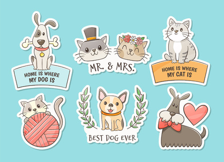 Hand drawn stickers of cats and dogs with quotes. Pet lovers concept. Print objetcs, perfect for T-shirt, pet shop, decor elements and design products for pets. 版權商用圖片 - 124602333