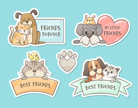 Cute pet sticker collection. Friendship concept. Isolated doodle stickers of domestic animals.