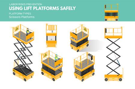 Isometric white isolated lift platforms labor risk prevention information about platform types on scissors platform