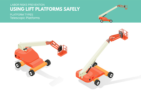 Isometric white isolated lift platforms labor risk prevention information about platform types on telescopic platform