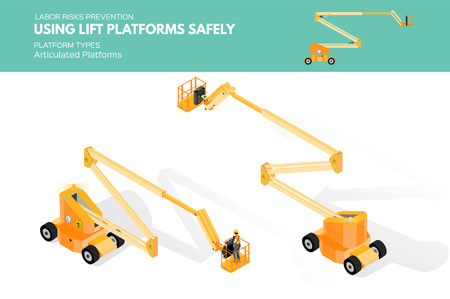 Isometric white isolated lift platforms labor risk prevention information about platform types on articulated platform