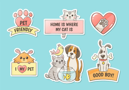 Cute pet stickers with quotes. Pet lovers concept. Hand drawn illustration. Perfect for T-shirt prints, pet shop logos and design products for pets.