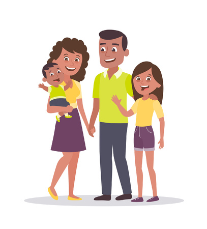 Family portrait. Father, mother, daughter and baby. Dark skin characters. Full lenght portrait of family members standing together. Vector illustration in cartoon style isolated on white background.