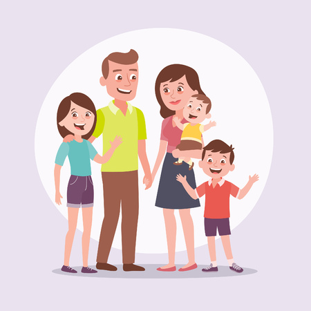 Family portrait. Father, mother, teenager girl, little boy, baby. Full lenght portrait of family members standing together. Vector illustration in cartoon style. Ilustração