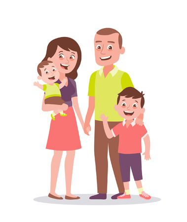 Family portrait. Father, mother, son and little baby. Full lenght portrait of family members standing together. Vector illustration in cartoon style isolated on white background.