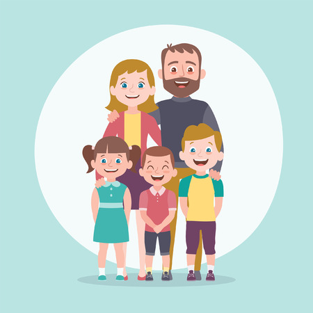 Family portrait. Father, mother and children. Full lenght portrait of family members standing together. Vector illustration in cartoon style. Ilustração