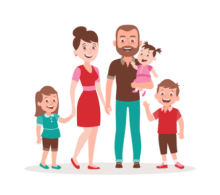 Happy family portrait. Father, mother, daughter, son and a baby girl. Full lenght portrait of family members standing together. Vector illustration in cartoon style isolated on white background.