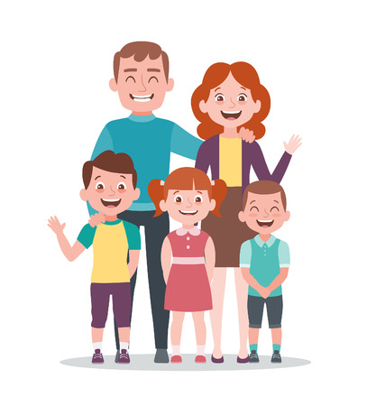 Family portrait. Father, mother and children. Full lenght portrait of family members standing together. Vector illustration in cartoon style isolated on white background. Ilustração