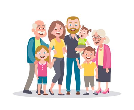 Family portrait. Parents, children and grandparents. Multi-generational family. Full lenght portrait of family members standing together. Vector illustration in cartoon style isolated on white.