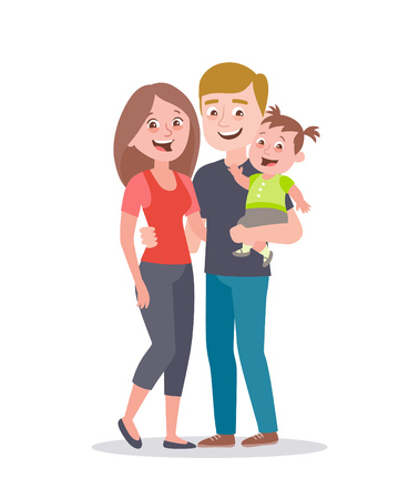 Happy young family portrait. Dad and mum with a baby girl. Vector illustration in cartoon style isolated on white.
