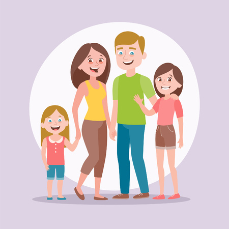 Cute family portrait. Mother, father and two daughters. Full lenght portrait of family members standing together. Vector illustration in cartoon style.