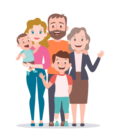 Family portrait. Mother, father, grandmother and two kids. Full lenght portrait of family members standing together. Vector illustration in cartoon style. Ilustrace