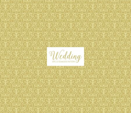 Elegant ornamental seamless pattern with decorative curls and swirls, perfect for elegant wedding invitation cards, backgrounds and wallpapers. Golden background.