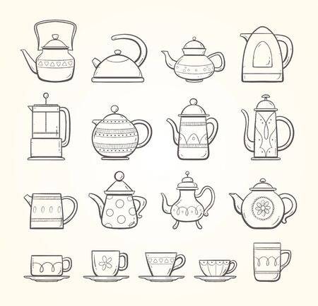 Hand drawn teapots and cups collection, including different types of ornamented teapots, milk and water mugs  and tea and coffee cups. Doodle outline collection.