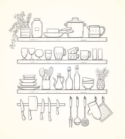 Hand-drawn kitchen shelves with plants, pots, cups, glasses, plates, and other kitchenwares. Magnetic bar with knives and other accessories hung on hooks. 版權商用圖片 - 133066683