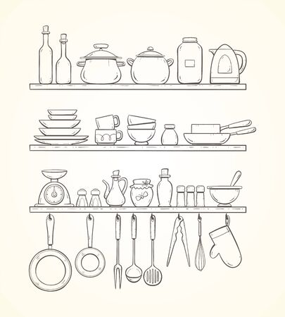Cute hand-drawn kitchen shelves with pots, bottles, dishes, pans, condiments and other kitchenwares. Pans and kitchen supplies hanging on hooks.