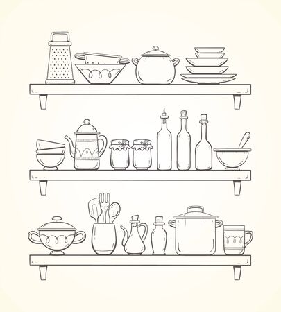 Hand-drawn kitchen supplies on shelves. Three shelves with plates, bottles, teapot, pots and other kitchenwares. 版權商用圖片 - 133066550