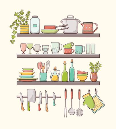Hand-drawn colorful kitchen shelves with plants, pots, cups, glasses, plates, and other kitchenwares. Magnetic bar with knives and other accessories hung on hooks. Isolated on light background.