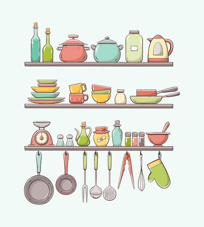 Cute hand-drawn kitchen shelves with pots, bottles, dishes, pans, condiments and other kitchenwares. Pans and kitchen supplies hanging on hooks. Colorful version. Isolated on light background.