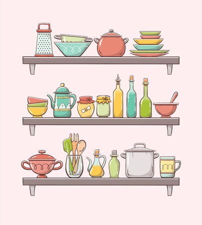 Hand-drawn kitchen supplies on shelves. Three shelves with plates, bottles, teapot, pots and other kitchenwares. Isolated on light background.