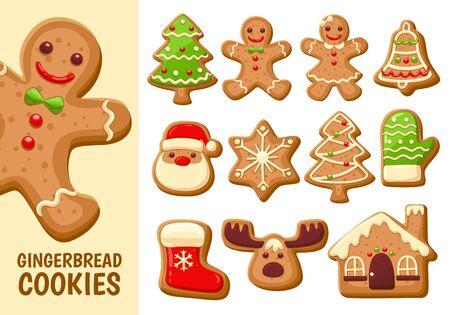 Set van schattige peperkoek cookies voor Kerstmis. Geïsoleerd op een witte achtergrond. Vector illustratie. Vector Illustratie