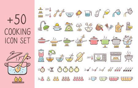 Set von handgezeichneten Kochsymbolen, perfekt, um Kochanweisungen zu geben und Kochrezepte zu erklären. Handgezeichnete bunte Symbole auf weißem Hintergrund.