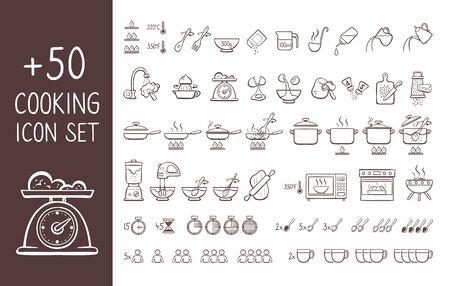 Set von handgezeichneten Kochsymbolen, perfekt, um Kochanweisungen zu geben und Kochrezepte zu erklären. Hand gezeichnete Gekritzelikonen lokalisiert auf weißem Hintergrund.