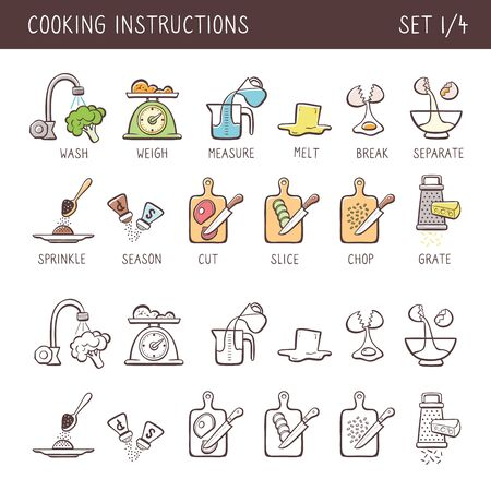 Set of 12 hand drawn cooking icons in two versions: doodle and colorful with descriptive name. Perfect for cookbooks and explain recipes. Vector icons isolated on white background. Set 1 of 4. 向量圖像
