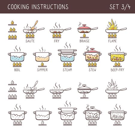 Set of 12 hand drawn cooking icons in two versions: doodle and colorful with descriptive name. Perfect for cookbooks and explain recipes. Vector icons isolated on white background. Set 3 of 4. 向量圖像