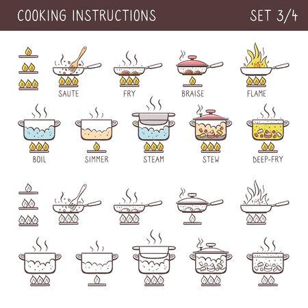 Set von 12 handgezeichneten Kochsymbolen in zwei Versionen: Gekritzel und bunt mit beschreibendem Namen. Perfekt für Kochbücher und erklärt Rezepte. Vektorikonen lokalisiert auf weißem Hintergrund. Set 3 von 4.