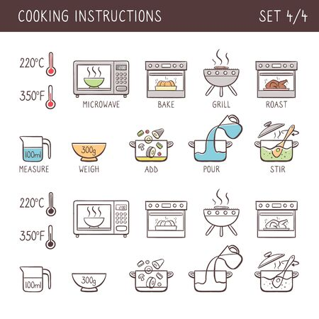 Set of 10 hand drawn cooking icons in two versions: doodle and colorful with descriptive name. Perfect for cookbooks and explain recipes. Vector icons isolated on white background. Set 4 of 4.