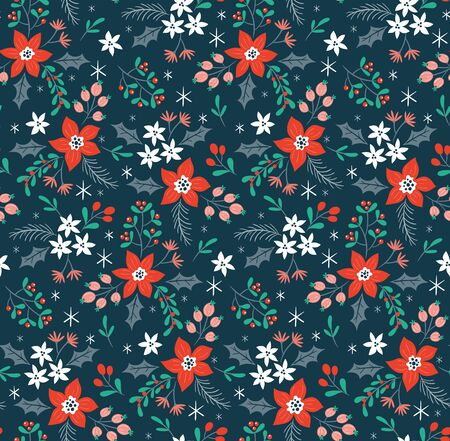 Winter flowers seamless pattern, perfect for christmas backgrounds and decoration. Hand drawn vector illustration. 向量圖像
