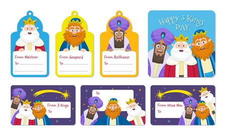 Three Wise Men label collection in English. Seven cartoon labes with the kings of Orient, perfect for children gifts in Epiphany day.