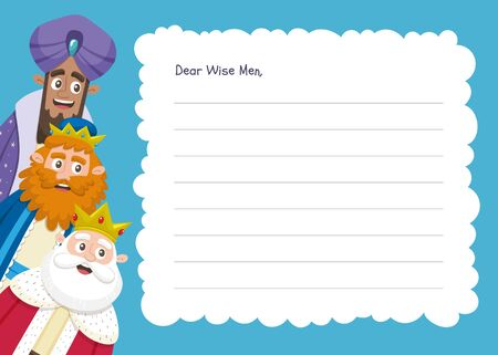 Three wise men letter template in English. Din A4 horizontal format; ready to print.