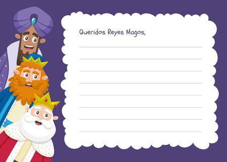 Three wise men letter template in Spanish. Din A4 horizontal format, ready to print.