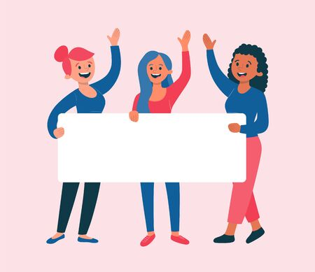 Happy young women holding a blank banner for text. Womens day concept. Flat cartoon illustration.