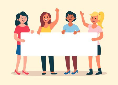 Young women holding a blank banner for text. Group with four women. Advertising banner. Flat cartoon illustration. 向量圖像