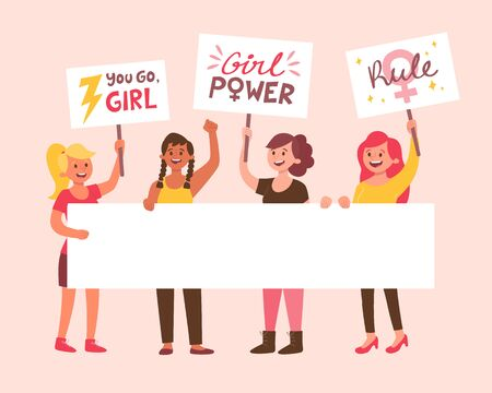Young women holding a blank banner for text and placards with girl power messages. Women's day concept. Flat cartoon illustration.