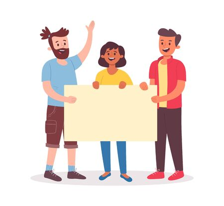Young people holding a blank placard for text. Group of three smiling people. Flat cartoon illustration isolated on white background.