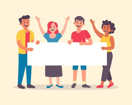 Happy young people holding a blank banner for text. Multiracial men and women group. Announcement banner for advertising. Teamwork concept. Flat cartoon vector illustration.