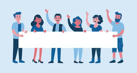 Team of six young people holding a long blank billboard for text. Announcement banner for advertising. Teamwork concept. Flat vector illustration.