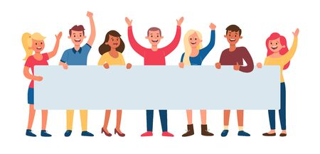 Group of seven young people holding a long blank banner for text. Announcement and celebrate concept. Flat vector illustration.