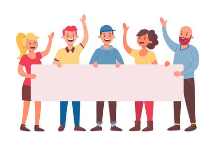 Team of five young people holding a blank banner for text. Announcement banner for advertising. Teamwork concept. Three men and two women. Flat cartoon vector illustration.