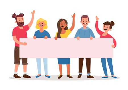 Team of five young people holding a blank banner for text. Announcement banner for advertising. Teamwork concept. Three women and two men. Flat cartoon vector illustration. 向量圖像